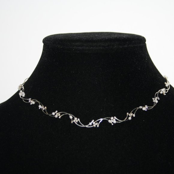 """Silver and white bead choker necklace 12-15"""""""